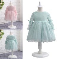 Wholesale hottest first communion dresses - Hot Sale Newest O-Neck Long Sleeve Lace Flower Girl Dresses A-line First Communion Dress Vestidos De Desfile Kids Party Dresses