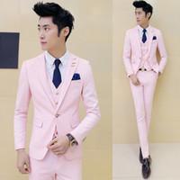 vestido de casamento rosa menino venda por atacado-3 pedaço (jaqueta + colete + calça) Pink Tuxedo Slim Fit Boys Prom Suits com calças Mens casamento terno para homens traje de festa preto
