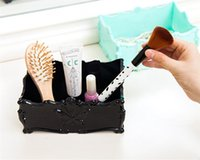 Retro Acrylic Butterfly Carved Desktop Cosmetic Storage Organizer Clear Jewelry Brosse à lèvres Brosse Container Makeup Box Case