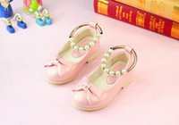 Vente en gros Princesse Bowknot Princesse Chaussures Rose / rouge Bande Soft Sole PU Cuir Mode Bowknot Rhinestone Flower Girl Dress Chaussures