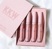 Wholesale Signature Lipstick - Free Shipping Hot NEW KKW By Kylie Cosmetios Creme Liquid Lipstick Set 4 Colors Matte Signature Lipgloss Set(1set =4pcs)