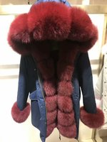 Wholesale Red Wine Rabbit - winter warm coats Mr Mrs furs fox rex rabbit fur long jackets Mr Mrs itlay wine red fox and rex rabbit fur lined navy blue parka