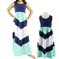 Wholesale Older Kids Clothing - 1-10t Older Chevron Design Girls Dresses Vestidos De Menina Children Summer Clothing Kids Casual Dress Girl Beach Retail