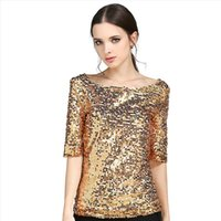 2017 T-shirt da donna Tops Patchwork sequined pieno Oro / argento T-shirt O collare cuffie sciarpa casual donne T-shirt