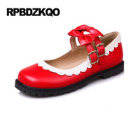 Wholesale Japanese School Bows - Red Lolita Women Flats Shoes With Little Cute Bowtie Ladies Mary Jane Round Toe Large Size 2017 Custom 43 Japanese School Bow 10
