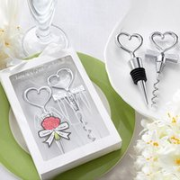 Wholesale Set Bottle Favors - Bottle Openers Tool Wine Bottle Opener Heart Shaped Great Combination Corkscrew and Stopper Sets Wedding Favors Gift Kitchen Dining Bar