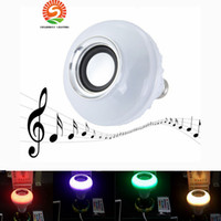 Wireless E27 6W Controle remoto Bluetooth Mini Smart LED Audio Speaker RGB Light Light Light Lâmpada de música