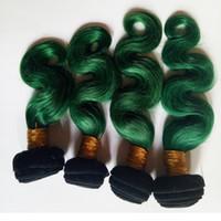 penas brasileiras venda por atacado-Cabelo humano europeu Moda Womens Feather Brasileiro cabelo virgem 4 pc beleza macia Mongol ombre tecer extensão sexy 1B / green Two tone