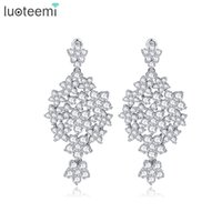Wholesale Star Shaped Crystal Earrings - LUOTEEMI Shining Full in CZ Crystal Many Five-pointed Stars Drop Earrings White Gold- Color Flower Shape Brincos Dangle Jewelry