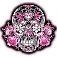 """Wholesale Iron Rider - 4"""" SUGAR SKULL ROSES LADIES Outlaw Club Rider Rock Heavy Metal biker vest Embroidered iron on patch badge applique"""