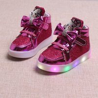 Wholesale Print Glow - Kids Casual Lighted Shoes Girls Glowing casual shoes Children Hello Kitty Shoes With Led Light Baby Girl Lovely Boots