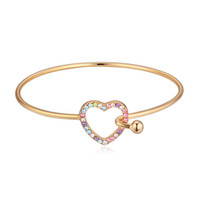 Wholesale champagne jewelry sets - New luxury jewelry famous brand champagne color plating heart bangle bracelet made with Swarovski elements crystal best gift
