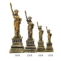 Wholesale Antique Art Deco - USA New York Free Goddess Liberty Statue Figurines Figure Shelf Deco Gift Crafts Metal Miniature Home Deco 0703165