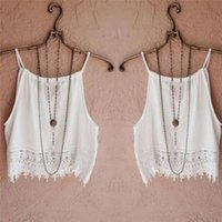 Wholesale Womens Tank Tops Wholesale - Wholesale- 2016 Fashion Womens Summer Lace Crop Tops Short Sleeve Blouse Casual Tank Tops White O-Neck Sleeveless Tee T-Shirt top female