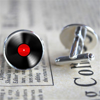 Wholesale Wholesale Cufflinks - 10pairs lot Vinyl Record Cufflinks, Music Cufflinks Music Jewelry Musician Gifts, Music Gifts Retro Jewelry Gift for Boyfriend