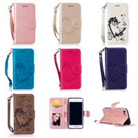 Wholesale Love Pocket Card - Fashion Leather Wallet Case for iPhone 7 6s Plus SE Samsung Embossing Love Heart Shape Case with Kickstand Card Holder Magnetic Closing