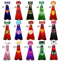 Wholesale Cosplay Capes - 2017 new one-layer 70*70CM Super hero Capes and mask set Superhero cosplay capes+mask Halloween Pumpkin cape mask for Kids 2pcs set