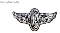 Wholesale Highway Signs - Motorcycle Wheels WINGS Embroidered Robe Biker Vest Iron On Patch Highway Road Sign rock retro applique wholesale dropship