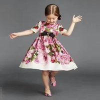 Wholesale Kids Clothes For Grils - Children summer dress WLMONSOON 2017 new rose printed princess dresses for kids round collar short sleeve dress baby grils clothing T0895