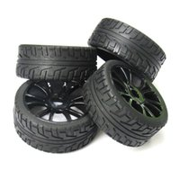 Wholesale Rc Car Body Hsp - 4pcs 17mm Hub Wheel Rim & Tires Tyre for 1 8 Off-Road RC Car Buggy HSP 180043