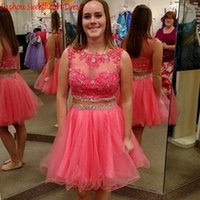Wholesale Homecoming Dress Bodice - Two Piece Cheap Homecoming Dresses A Line Scoop Illusion Bodice Crystal Beaded Water Melon Tulle Applique Prom Dress Graduation Gown HY00737