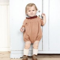 Wholesale Doll Overall - 2017spring Overalls infant cute baby girl clthes store boutique fashion designer name brand baby rompers knitted Doll collar long sleeve