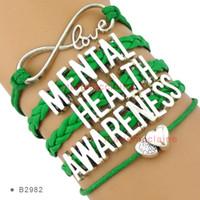Wholesale Health Leather Bracelet - Infinity Love Mental Health Awareness Heart to Heart Multilayer Bracelet Green Wax Cord Leather Bracelet