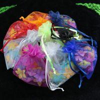 organze takı çantası yılbaşı toptan satış-Toptan-100 adet / grup 9x12 cm Karışık Renk Bolsas Organze İpli Ambalaj Çanta Torbalar Noel Düğün Hediye Takı Ekran Çanta