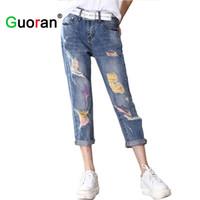 Wholesale Jeans Hole Boy - Wholesale- Rainbow Color Women Loose Boy friend Ripped Jeans For Women Plus Size Knee Hole Female Pants Ladies Hip Hop Trousers Femme