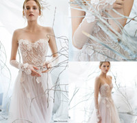 Wholesale Zipper Gloves - Mira Zwillinger 2017 A Line Wedding Gowns With Glove Beads Sequins Bohemian Bridal Dresses Strapless 3D Floral Illusion Cheap Wedding Dress