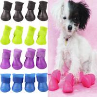 Wholesale Wholesale Dog Socks - 4PCS set Lovely Dog Shoes Puppy Candy Colors Rubber Boots Waterproof Pet Rain Shoes Size S M L