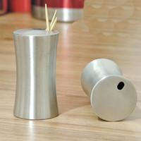 palillos de acero inoxidable al por mayor-Venta al por mayor- 304 tubo de acero inoxidable mini palillo de dientes caja moda palillo casero creativo europeo