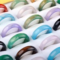 Wholesale Precious Stones Rings - 100Pcs Hot Fashion Natural Agate Rings Semi-precious Stones Women Men Rings Jewelry Bijoux Random Color Wholesale