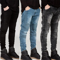 Streetwear Mens Ripped Biker Jeans Homme Men's Fashion Motorcycle Slim Fit Black White Blue Moto Джинсовые брюки Joggers Skinny Men