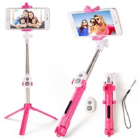 Wholesale Extendable Handheld - Selfie stick with Tripods bluetooth control monopods Extendable Self Portrait Selfie Handheld Stick remote shutter print