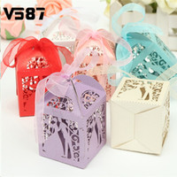 Wholesale-12pcs / lot Wedding Favors Wedding Party Decoração Papel Com Presentes Ribbon Candy Box 6 Color Choice Chocolate Boxes