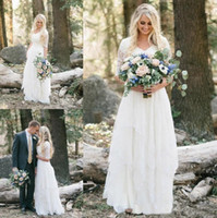 Wholesale White Lace Modest Wedding Dresses - 2017 Western Country Bohemian Forest Wedding Dresses Lace Chiffon Modest V Neck Half Sleeves Long Bridal Gowns Plus Size Dress for Wedding