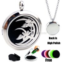 Wholesale Easter Lily Pendant - New Arrival Silver Lily(30mm) Aromatherapy   Essential Oils Diffuser Locket Necklace with Chains Stianless Steel Auto Aroma Locket