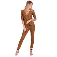 Wholesale Overalls Belt - Deep v neck suede belt bodycon jumpsuit romper Autumn fitness brown party women jumpsuit 2017 Casual fashion overalls
