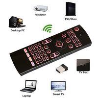 laser android großhandel-2,4 GHz Fly Air Maus Laser Tastaturen QWERTY Fernbedienung für Android TV Box 7 RGB Farben Hintergrundbeleuchtung Tastatur