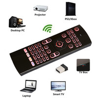 Wholesale Flying Laser - 2.4GHz Fly Air Mouse Laser Keyboards Qwerty Wireless Remote Controller for Android TV Box 7 RGB colors backlight keyboard