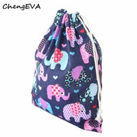 Vente en gros - 2017 New Hot Sales Casual Attractive Elephant Printing Drawstring Beam Port Storage Bag Sac bandoulière Gift Bag Livraison gratuite Jan 4