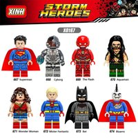 Wholesale Super Heroes Flash - 120pcs Mix Lot Super Heroes Minifig Superman Wonder Woman Cyborg Bat Aquaman Bizarro The Flash XINH X0167 Mini Building Blocks Figures