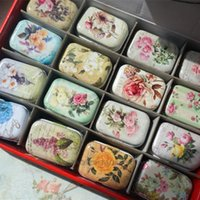Wholesale tin tea boxes wholesale - 32 Pieces lot Vintage Style Mini Treasure Chest Storage Cases Small Things Metal Tin Box 5.5*3.8*2.5cm Tea Candy Boxes Accessories