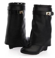 Wholesale Black Wedges Booties - 2017 New Arrivals Black Leather Shark Lock Wedge Boots Pointed Toe Silver Button Zip Ankle Boots For Women Motorcycle Autumn Booties