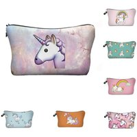 Wholesale Beautiful Gray - Beautiful Cosmetic Case Coins Purses Unicorn Printed Handbags Children Pencil Pouch Girl Makeup Bags Women Fashion Accessories Gifts