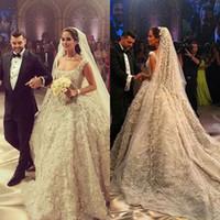 Wholesale Luxurious Dresses Dubai - Sparkling Luxurious Dubai Wedding Dress Square Neckline Beaded Sequins Applique Organza Bridal Dresses 2017 Charming Princess Wedding Gowns