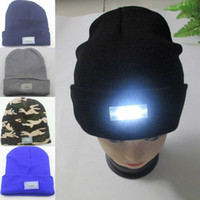 Wholesale Knitted Hiking Hats - 5 LED Knit Cap lighted Cap Hat Winter Warm Beanie Angling Hunting Camping Running 5-color