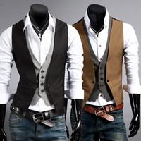 Wholesale Mens Black Suit Vest Xl - new men slim fit suit vest fashion Stitching casual waistcoat autumn winter mens dress vests 2 color