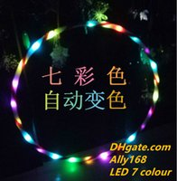 Wholesale Hula Led - Wholesale 90cm LED Glow Hula Hoop LED Multicolor Performance Hoop Sports Toys Loose Weight wholesale
